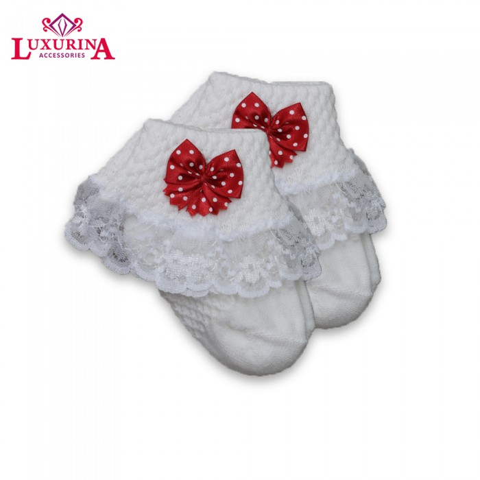Polka Dot Red Bow Baby Socks from category Whats NEW