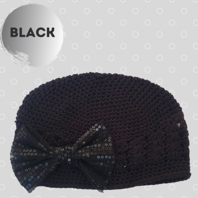 Black Cap with sequin bow