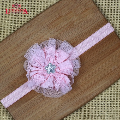 Chiffon flower with glitter star headband